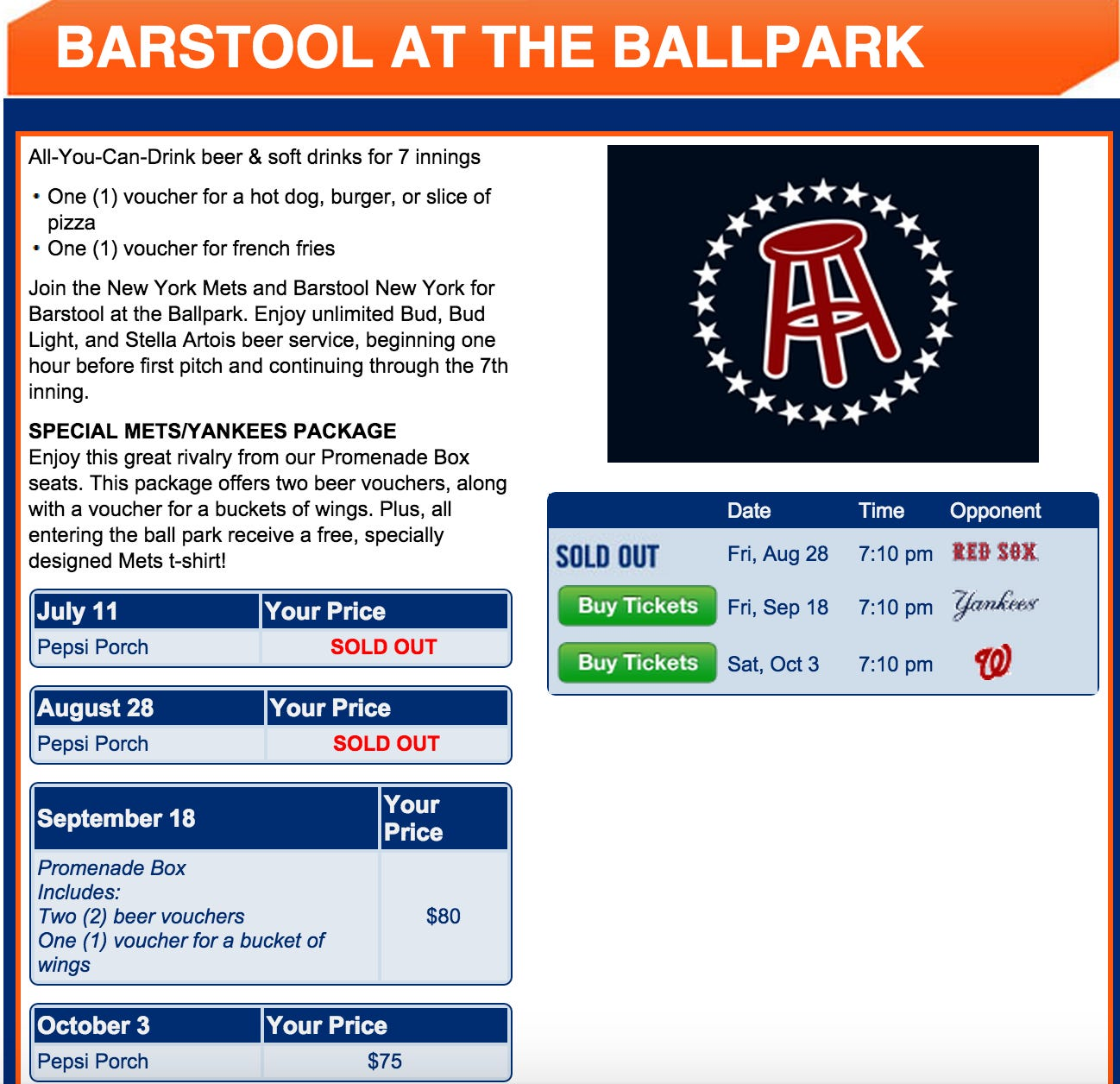 Mets Vs Red Sox Barstool At The Ballpark Sold Out Subway