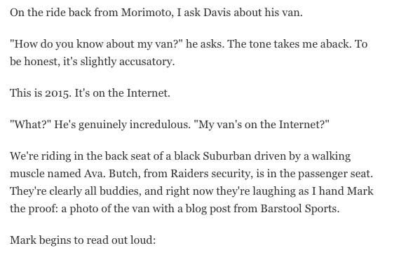 This ESPN Profile On Raiders Owner Mark Davis Is Fantastic, Especially The Part Where We Get A Live Reaction Of Mark Reading My Blog About His MiniVan