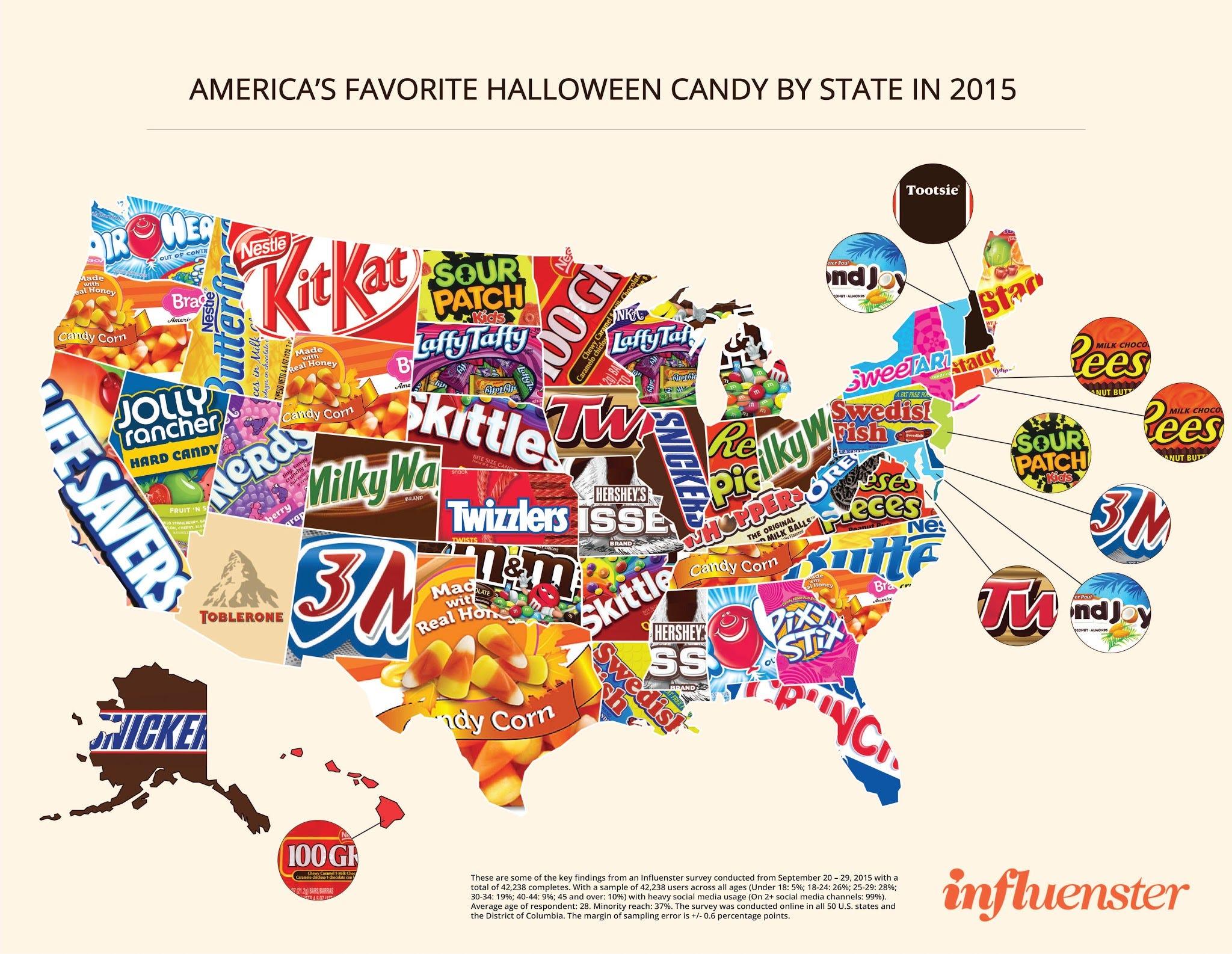 influenster halloween candy map