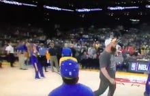 Fan At Warriors Game Hits A Shot For A Prize, Immediately Taunts The Entire Lakers Bench With A Throat Slash