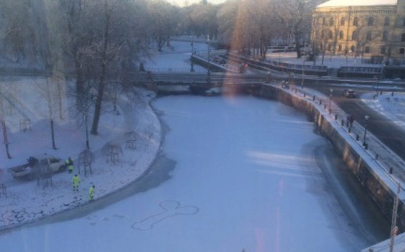 Giant Snow Dick On A Pond Can't Be Erased Cause The Ice Is Too Thin For City Workers To Get To It
