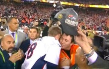 And Peyton Manning's First Kiss Goes To…..Papa John!