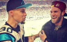 Bryce Wore a Redskins Hat And Hung Out With Fans At The Super Bowl