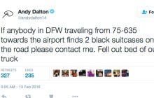 Andy Dalton Losing Two Suitcases Out Of The Bed Of His Truck On The Highway Is Primetime Dalton