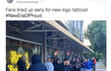 Poor Sacramento Kings Fans Are Lined Up Around The Block To Get A Free Tattoo Of The Kings Shitty New Logo