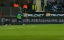 Soccer Player Throws Corner Flag Into The Crowd Like A Javelin