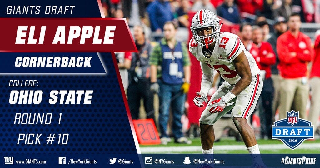 The Giants Select Eli Apple AKA Not Laremy Tunsil With The 10th Pick