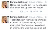 Kendra Wilkinson Twitter Murdered Holly Madison, Said Holly Was Hef's Cleanup Girl With Her Mouth