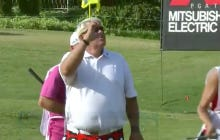 John Daly Closes His Round With An Eagle, Gestures To The Crowd That He Needs A Drink