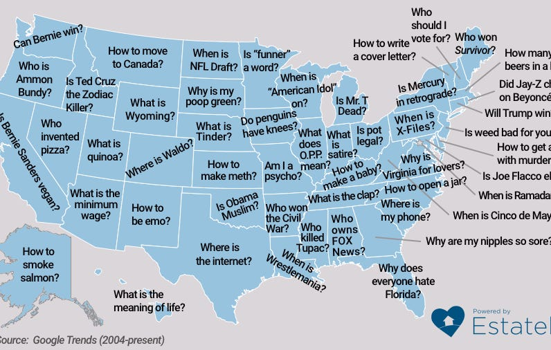 This Year's Map Of The Most Googled Questions By State Brought The Heat As Usual