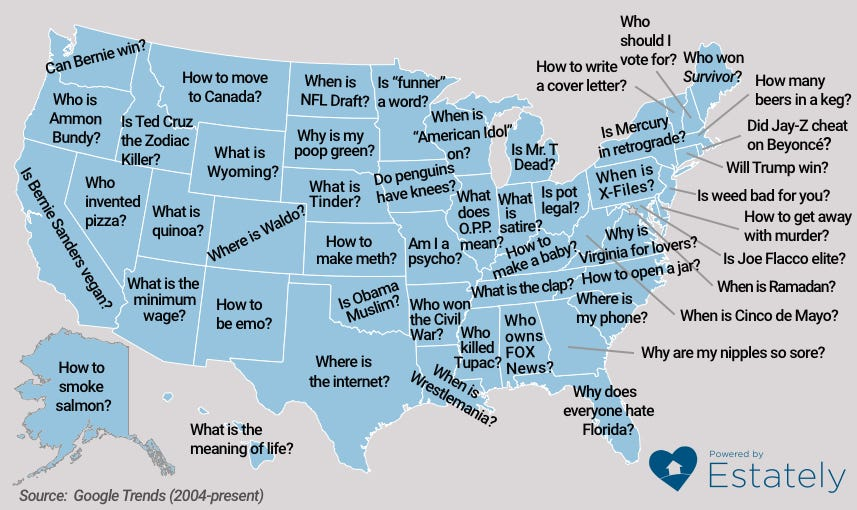 This years map of the most googled questions by state brought the estately americans have no shortage of questions and the internet no shortage of answers whether looking for advice on buying a home or determining the gumiabroncs Image collections