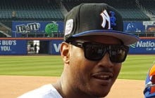 Melo Wearing This Yankees/Mets Hybrid Hat Is So Typical Melo