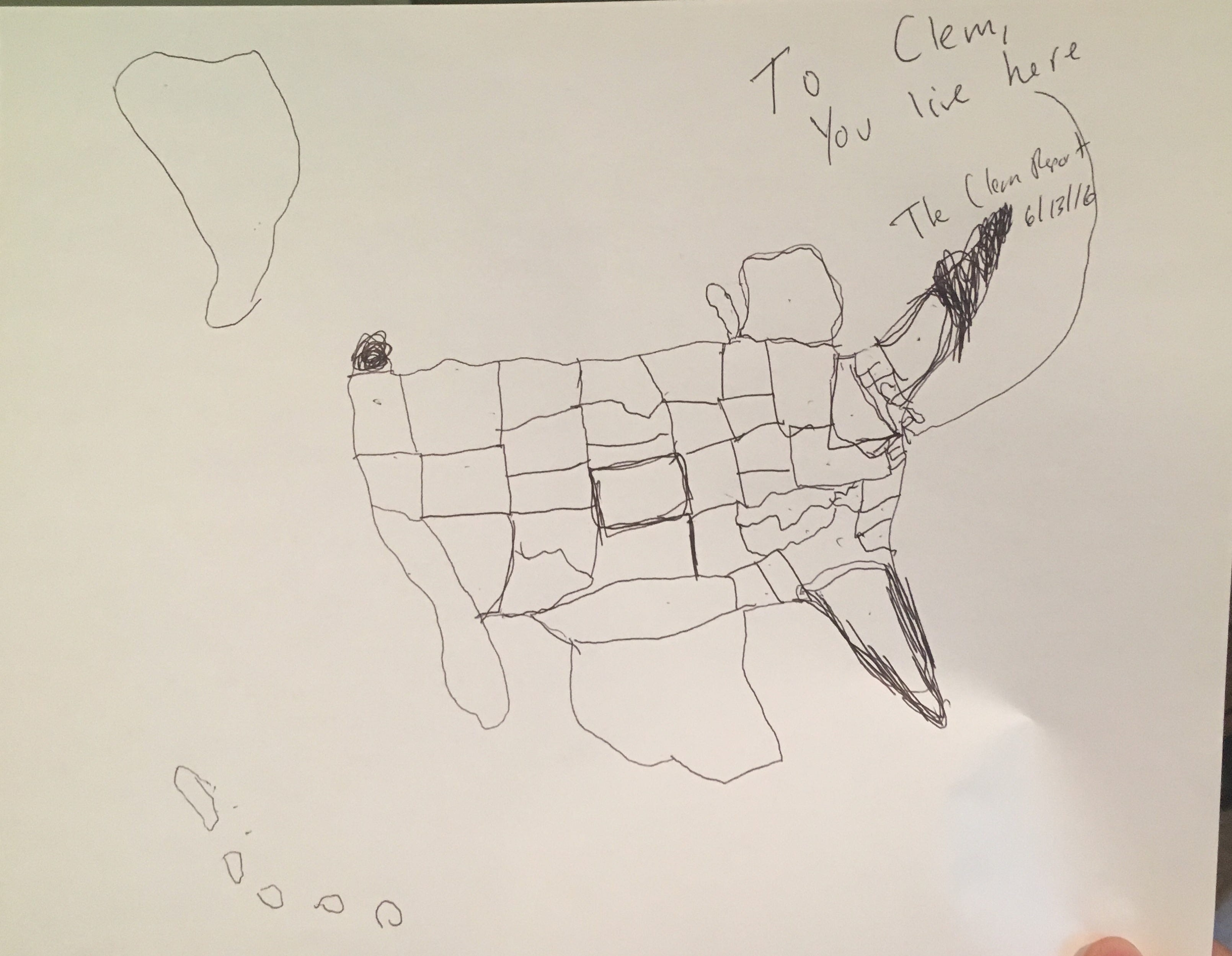 Al Frankens Freehand Drawing Of The United States Map From Memory - Sketch drawing us with states map