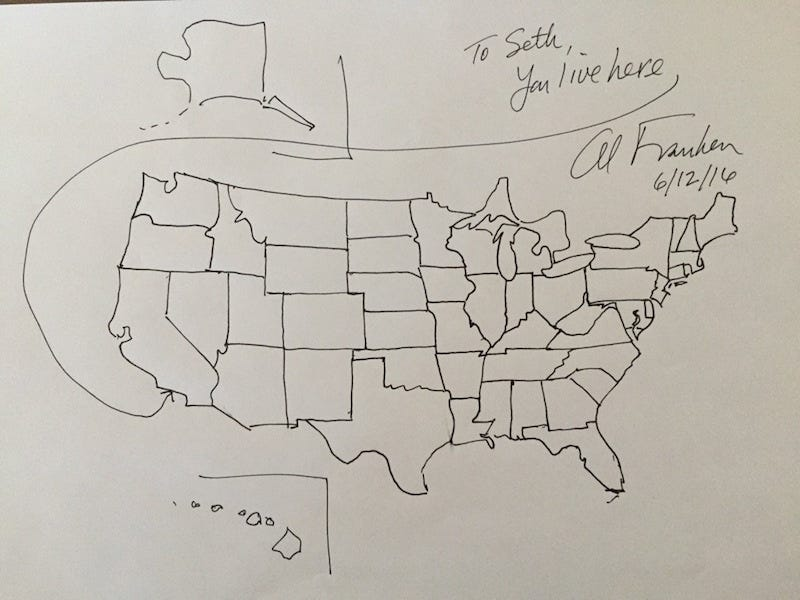I Don T Know If Al Franken Practiced Drawing U S Maps For 10 000 Hours Has Some Sort Of Rain Man Going Through His Brain Or Was Just Born The Monet Of