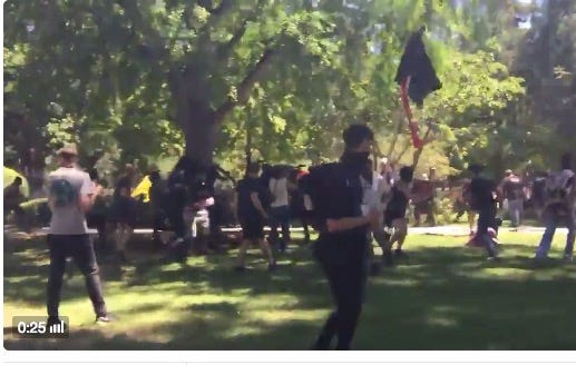 Dude Gets Borderline Decapitated During Insane Fight Between Neo-Nazis and Nazi Protesters