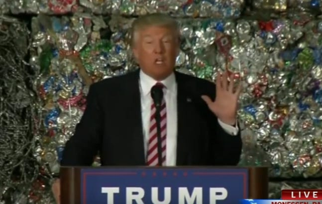 Donald Trump Gave An Economic Speech In Front Of A Wall Of Garbage Today