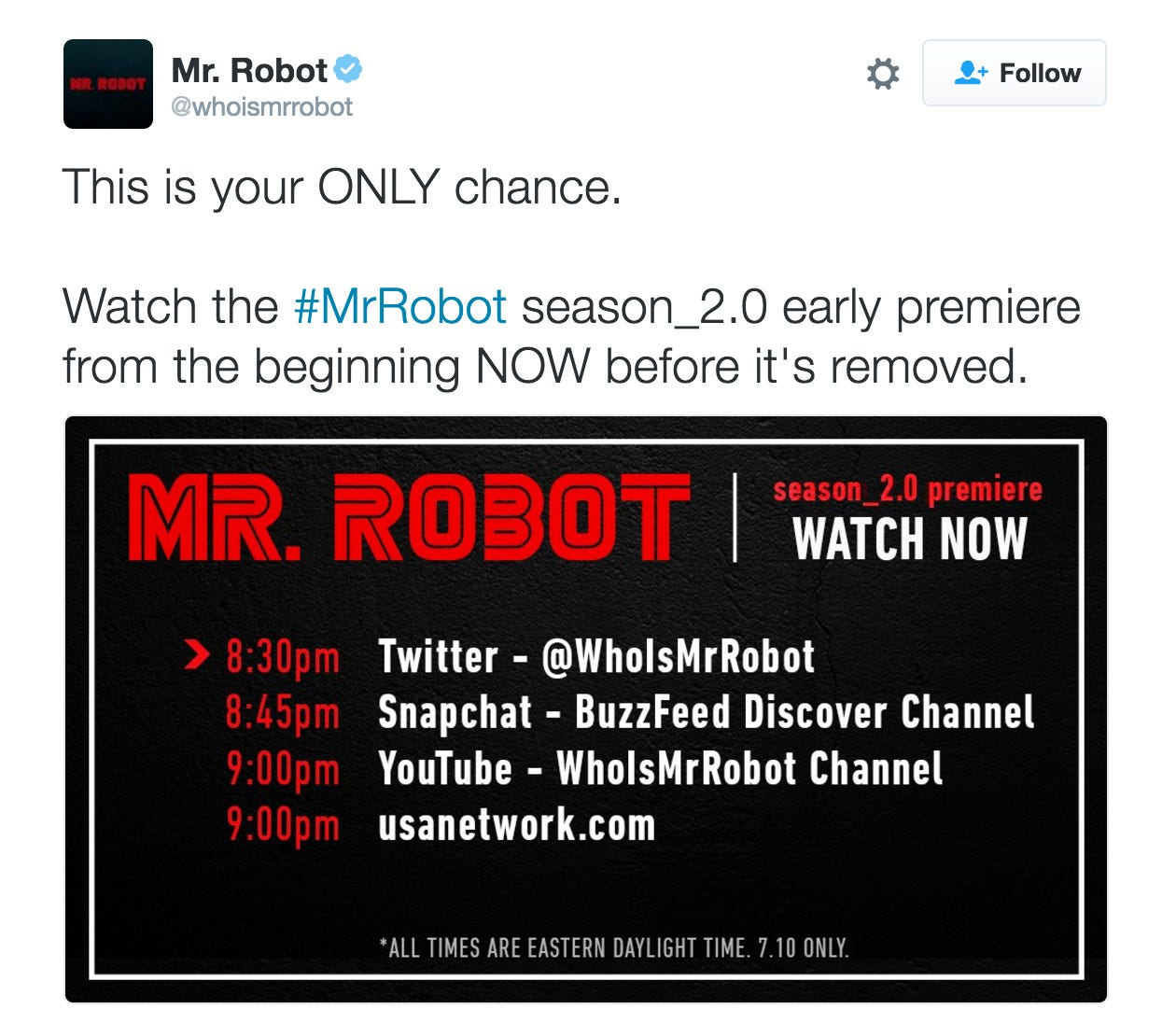 mr robot just released their season 2 premiere on twitter
