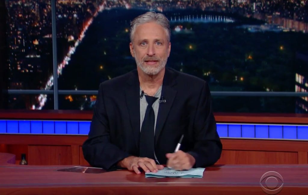 Jon Stewart Hopped Behind Colbert's Desk And Unleashed On Donald Trump And The RNC