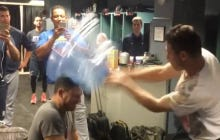 The Tigers Got Ready For Today's Game By Playing Rock, Paper, Scissors With The Loser Getting Smoked With A Water Jug