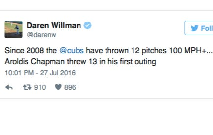This Stat From Chapman's Debut Last Night Blows My Mind