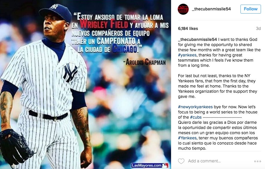 Aroldis Chapman Hints At Returning To New York