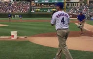 Jim Harbaugh Borrowed Matt Szczur's Cleats To Throw Out The First Pitch Last Night