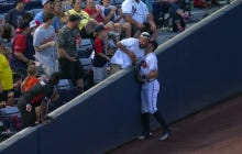 Braves Outfielder Chase d'Arnaud Kisses Fan On The Neck After Interfering With Play