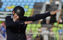 Swedish Coward Dabs After Winning Silver In Equestrian