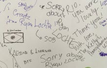 "The Most Popular Message Written On A Giant Wall By People Leaving The Rio Airport Was ""Sorry About Ryan Lochte"""