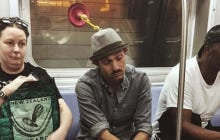 A Guy Wearing A Plunger Hat Contraption On The Subway Is Our Latest Entry In The Summer Of Weirdos