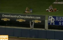 Minor League Outfielder Flips Over The Fence Robbing A Home Run