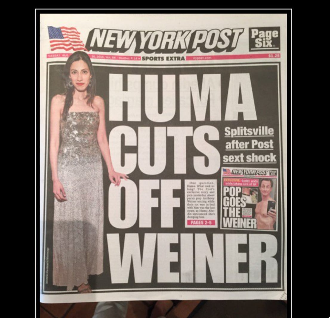 Just When You Think The Post Can't Top Itself…They Hit You With Another A+ Weiner Joke