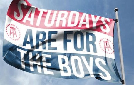 "Pre Order The Official Flag of Tailgates Everywhere – ""Saturdays Are For the Boys"""