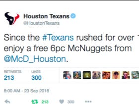 Congrats To Houston Texans Fans! Free 6 Piece McNuggets Today Because The Team Rushed For Over 100 Yards!