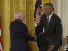 Mel Brooks Receives The Medal Of Arts Then Pretends To Pull Down President Obama's Pants