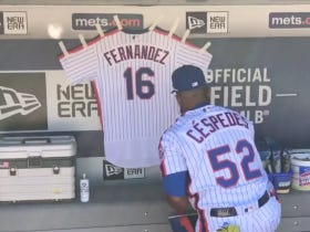 Cespedes And The Mets Pay Homage To Jose Fernandez By Hanging His Jersey In The Dugout