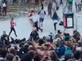 Idiot Gets Decleated Attempting To Bum Rush Kanye Pit