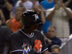 Dee Gordon Got In The Righty Batter's Box Wearing Jose Fernandez's Helmet, Switched Back To Lefty And Hit His First Home Run To Lead Off The Game