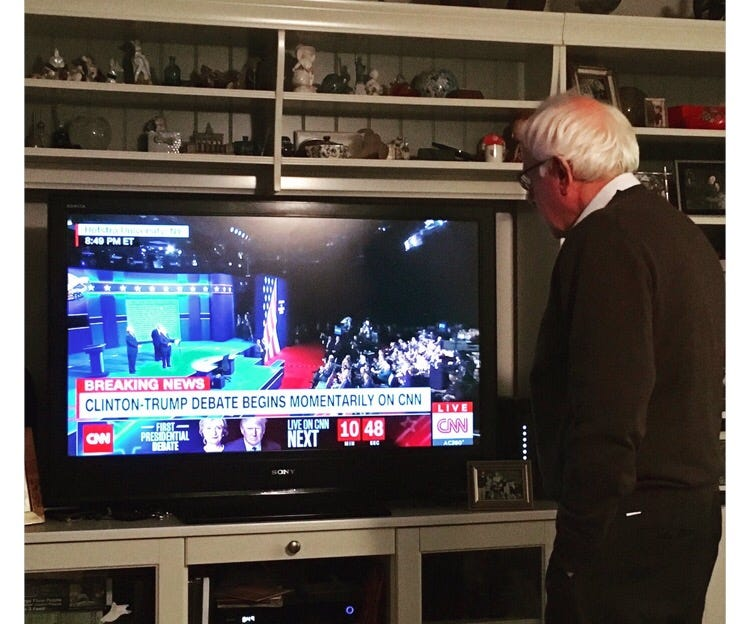 The Picture Of Bernie Sanders Watching Last Night's Debate Is Maybe The Saddest Picture Of All-Time