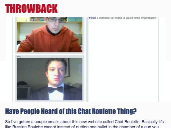 """From Today's Newsletter…""""Have People Heard Of This Chat Roulette Thing?"""""""