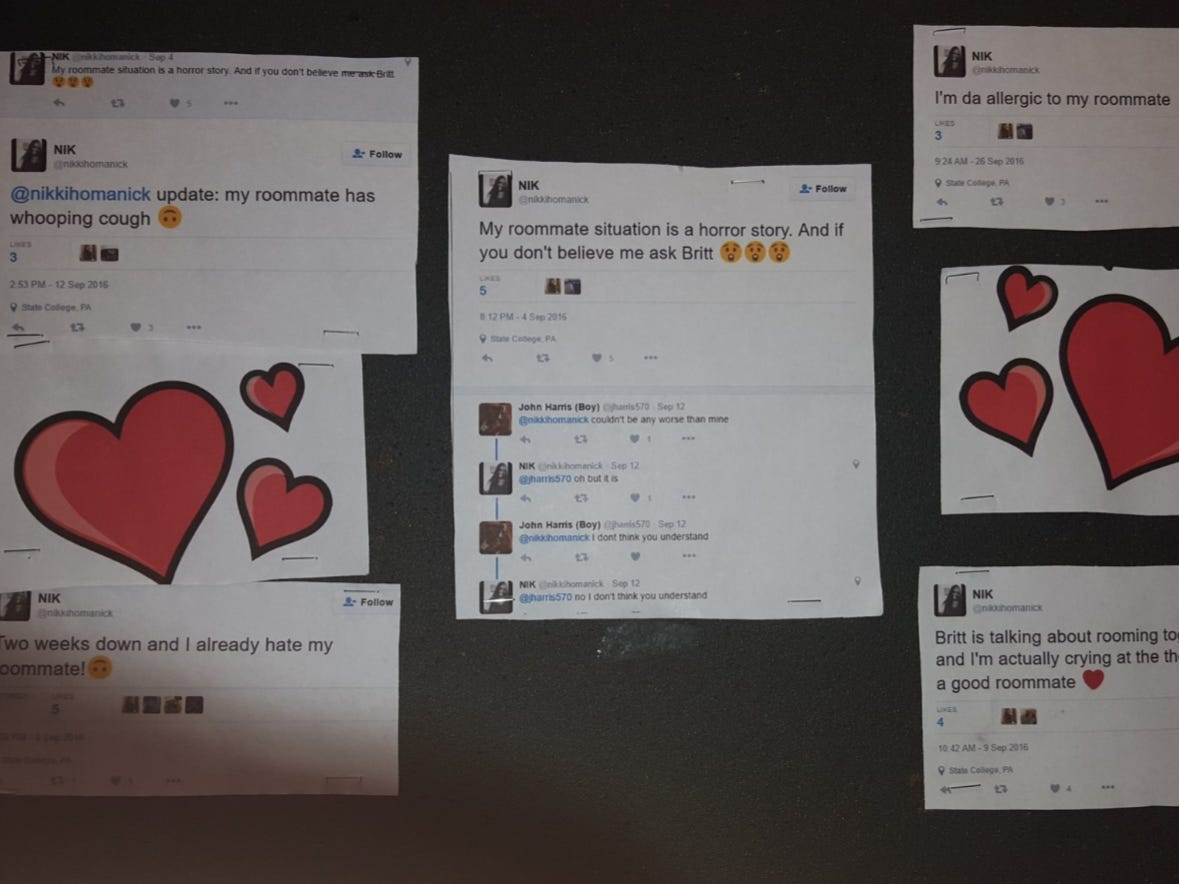 A Penn State Girl Found All Her Roommate's Subtweets About Her So She Printed Them Out And Posted Them In The Dorm