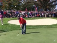 Fan Heckles Team Europe About A Missing Putt, Fan Gets Pulled Outta The Crowd To Putt It Himself, He Drills It