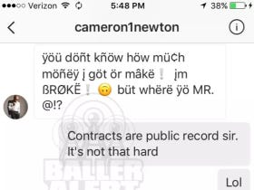 Cam Newton Got Busted Sliding Into Some DMs And His DM Game…I Honestly Can't Even Comprehend It