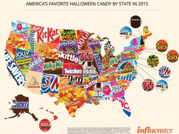The map of favorite halloween candy by state from last year is still a
