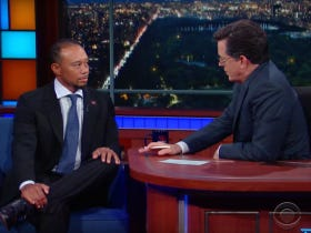 """Tiger Went On Colbert And Says He Plays 8 Hours Of """"Call of Duty"""" A Day"""
