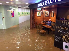 This Old Dude Don't Give A Fuck That His Starbucks Is Flooded