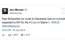 Kyle Schwarber Is On A Plane To Cleveland Right Now, Expected To DH Game 1