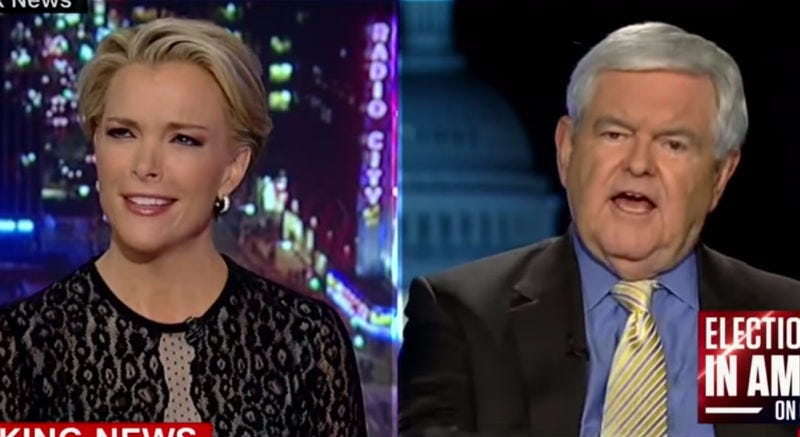 """Watch Newt Gingrich Say Megyn Kelly Is """"Fascinated With Sex"""" And The Two Battle Over Bill Clinton/Donald Trump Sexual Histories"""