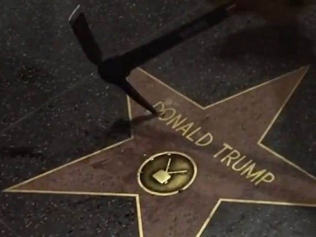 Someone Destroyed Trump's Hollywood Walk Of Fame Star With A Pick-Ax