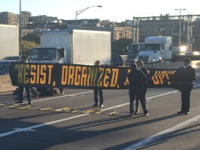 A Bunch Of Asshole Protesters Chained Themselves Together And Stopped Traffic On The George Washington Bridge